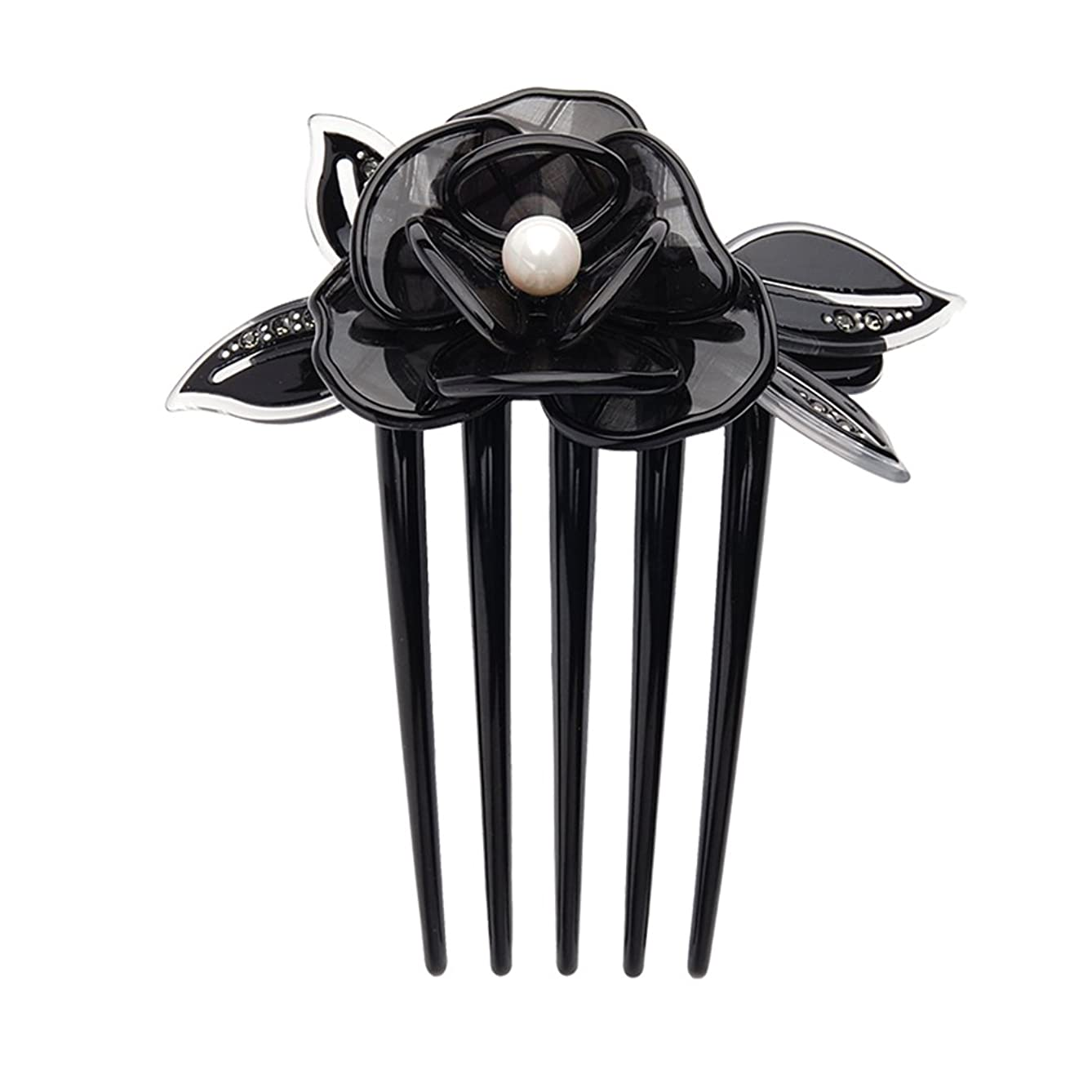 CHIMERA Hair Side Comb Classic Cellulose Acetate Black Flowers Crystal Hair Clips Comb Hair Pins Hair Comb for Women