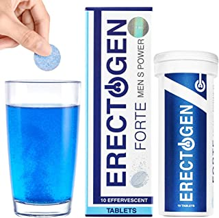 Erectogen Forte - Male Enhancing Pills and Testosterone Booster for Men with Maca, Reishi Mushroom | Amplifier for Energy Boost, Male Enhancement and Endurance - 10 Natural Effervescent Tablets
