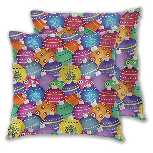 Christmas Pillowcase Printed, 16 x 16 Inch Colorful Xmas Balls Easy to care Christmas decoration Set of 2