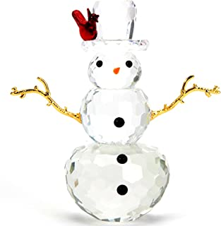 Bits and Pieces - Crystal Snowman Figurine - Decorative Hand Crafted Christmas Crystal Collectible Figurines