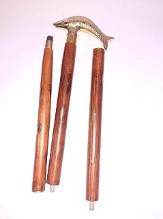 Ganga Nautical Vintage Messing Walking Stick Fish Style Handvat Cane Shaft 36 inch Houten Stok Replica Goede Gift Item