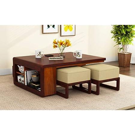 Santosha Decor Teapoy Design Sheesham Wood Center Coffee Table With 4 Stool And 4 Seater Mahogany Finish Amazon In Electronics