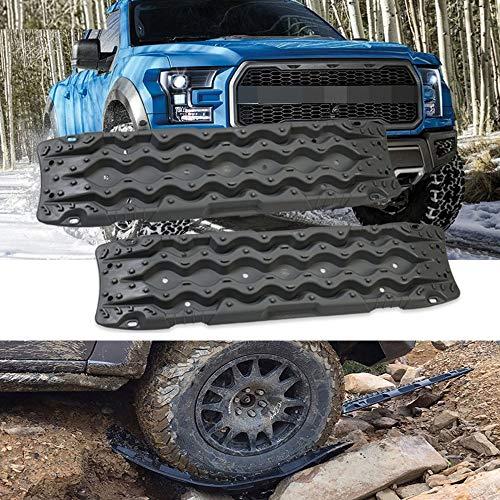 Black Solo - Tablas de recuperación de tracción, 2 unidades, tablero de protección de barro para extracción de vehículos 4 x 4 todoterreno, arena y nieve