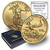 1986 - Present (Random Year) 1/10 oz American Gold Eagle Coin Brilliant Uncirculated in United States Mint Box with Certificate of Authenticity by CoinFolio $5 BU