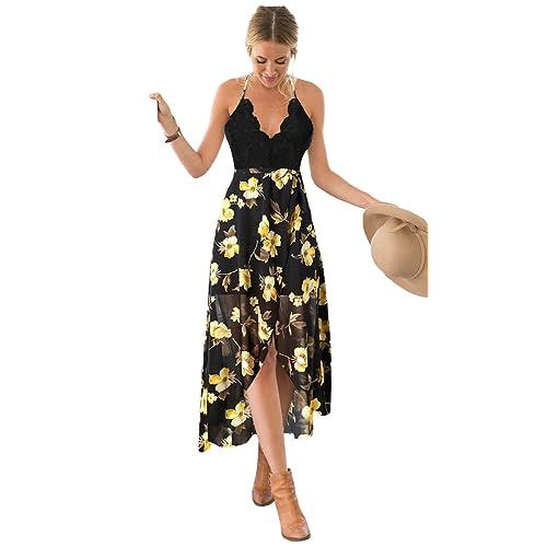 Blooming Jelly Women s Halter Neck Deep V Asymmetrical Floral Dress 45468a359