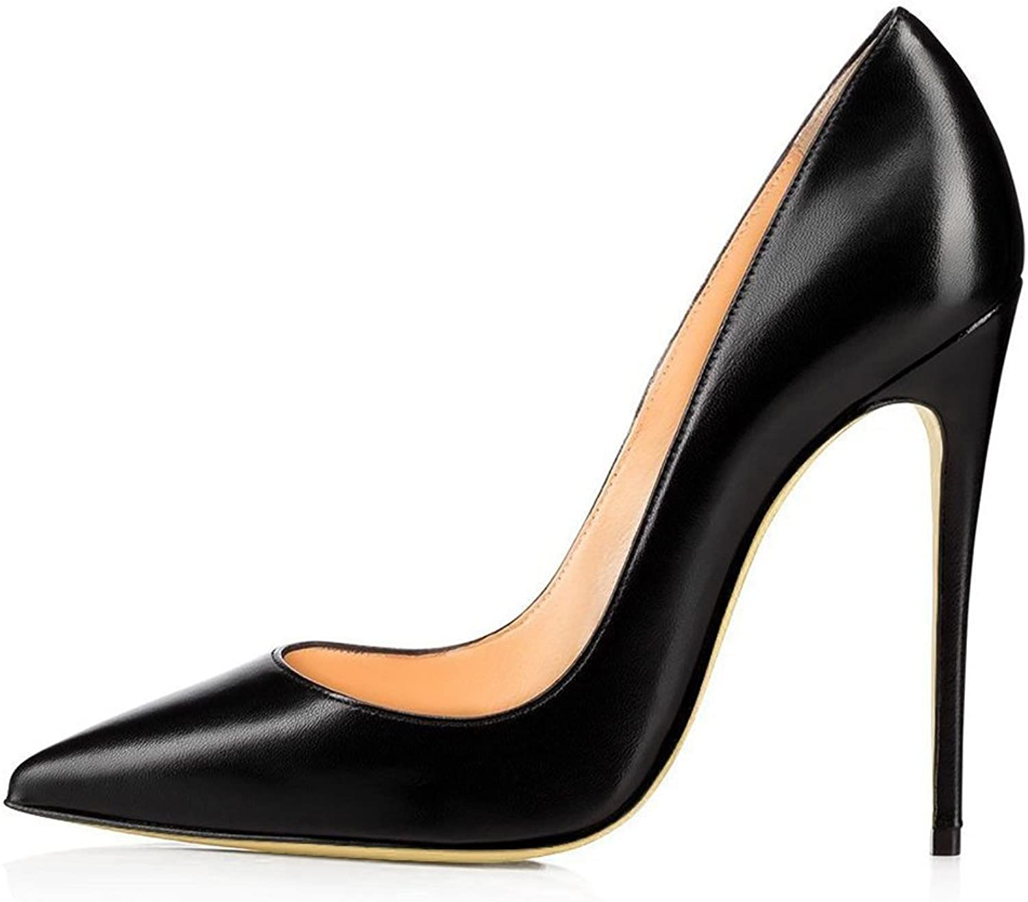 Kmeioo High Heels, Women's Pointed Toe High Heel Slip On Stiletto Pumps Evening Party Basic shoes Plus Size-Black-PU 7.5 M US