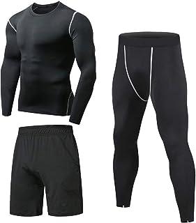 comprar comparacion Niksa 3 Piezas Conjunto de Compresion Hombre, Camisetas Compression Mallas Running Pantalon Corto Deporte Ropa Deportiva H...