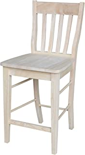 International Concepts Cafe Stool, 24-Inch SH, Unfinished