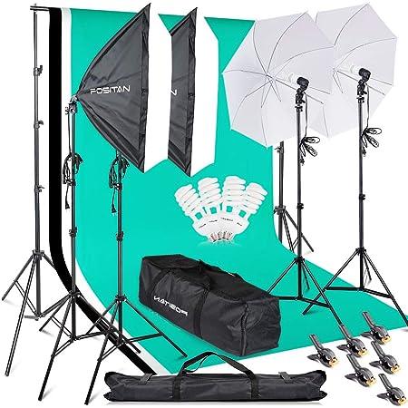 FOSITAN プロな写真撮影ソフトボックス照明キット 2M x3M背景布支援システム 豪華33件セット 5500K 2*50*70㎝ソフトボックス 2*白いソフト傘 6*2M三脚 3*背景布(白、黒、緑) スタジオ撮影、ポートレート撮影、インタビュー、映画の背景用