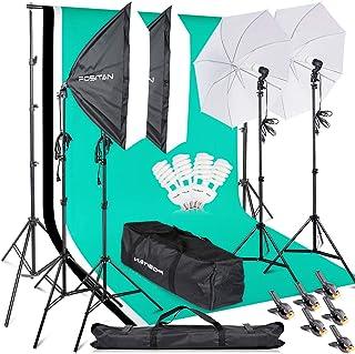 FOSITAN プロな写真撮影ソフトボックス照明キット 2M x3M背景布支援システム 豪華33件セット 5500K 2*50*70㎝ソフトボックス 2*白いソフト傘 6*2M三脚 3*背景布(白、黒、緑) スタジオ撮影、ポートレート撮影、イン...