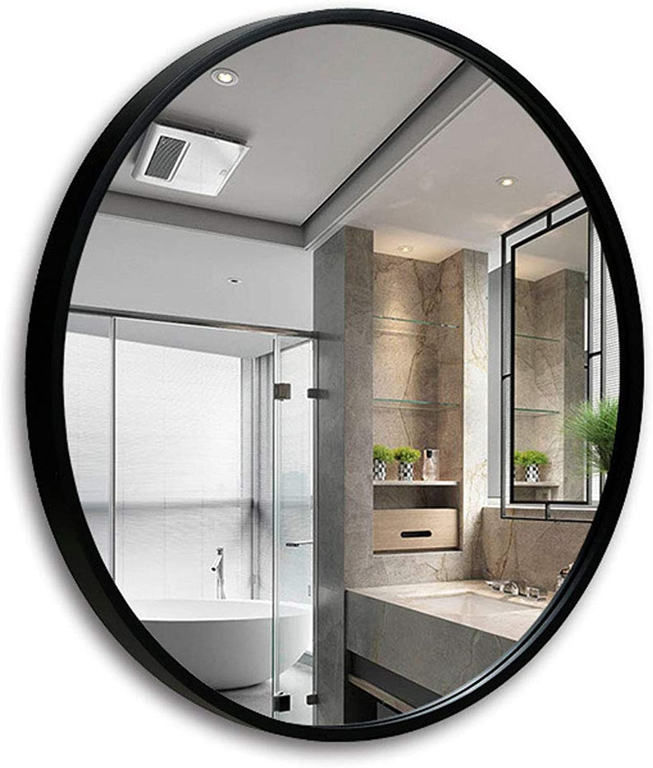 Round Bathroom Mirror Circle Wall-Mounted Wooden Frame Mirror Makeup Shaving Wall Mirror 50-70cm Available Black