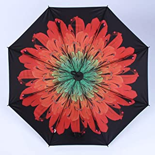 Star Universe Umbrella Women Waterproof Sun Rain Parasol Colorful Flower Panda Three Folding Black Pencil Umbrellas Hyococ (Color : Pink)