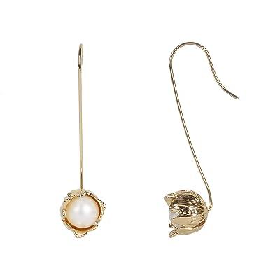 Rebecca Minkoff Textured Flower Wire Earrings w/ Fresh-Water-Pearl (Gold/White) Earring