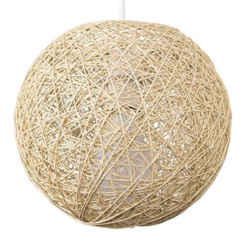 Modern Small Cream Lattice Wicker Rattan Globe Ball Style Ceiling Pendant Light Lampshade
