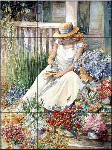 Keramik Fliesenbilder - Blumen-Mädchen - von Jerianne Van Dijk - Küche Aufkantung / Bad Dusche