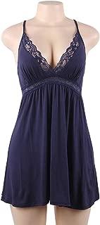 Robe Femme Modal Cotton Night Dress Sexy Negligee Sleeveless Halter V Neck Floral Lace Plus Size Sleepwear