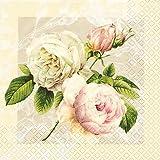 20 Servietten Cottage Rose/Blumen/Blumenmotiv 33x33cm