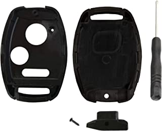 KeylessOption Keyless Entry Remote Key Blade Fob Shell Case Cover Repair for Honda Civic CR-V CR-Z Fit Odyssey + Screwdriver