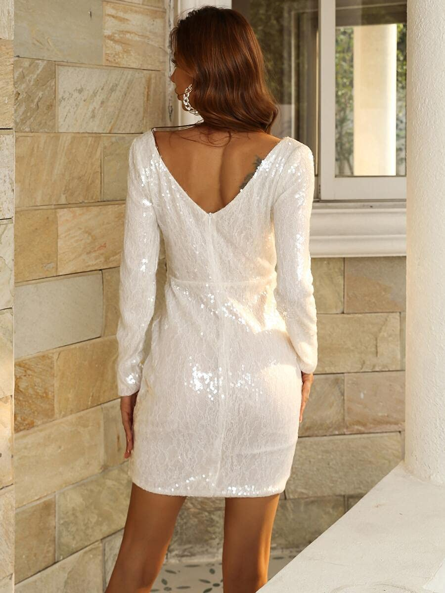 NICEAPR Dresses Double V Neck Popular overseas Sequin Color Size Dress Tampa Mall : White