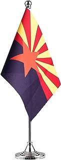 GentleGirl.USA Arizona State Flag Arizona AZ Flag, Small Mini Arizonas State Flag Desk Flag Stick Office Table Flag on Stand Base,Festival Events Celebration,Home Decoration