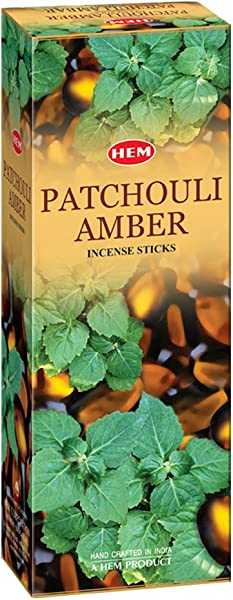 Patchouli Amber Box Of Six 20 Stick Hex Tubes HEM Incense Hand Rolled In India
