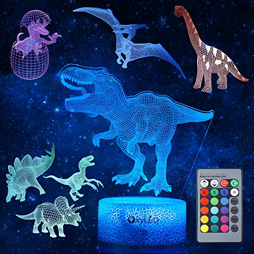 Dinosaur Night Light for Kids, 3D Dinosaur Toys (5 Patterns) Dimmable with Remote Control & 16 Colors Changing & Smart Touch, Rechargeable Bedside Nursery Lamp, Christmas Birthday Gifts for Boy Girl