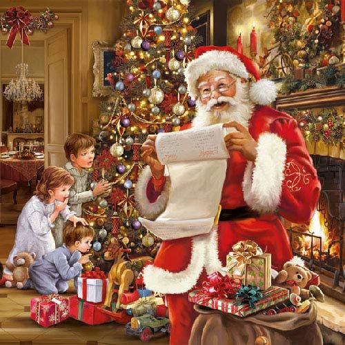 20 Servietten Weihnachten Weihnachtsmann Wunschzettel Geschenke Christmas 33 x 33