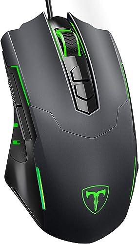 PICTEK Gaming Mouse Wired [7200 DPI] [Programmable] [Breathing Light] Ergonomic USB Computer Mice RGB Laptop PC Gamin...