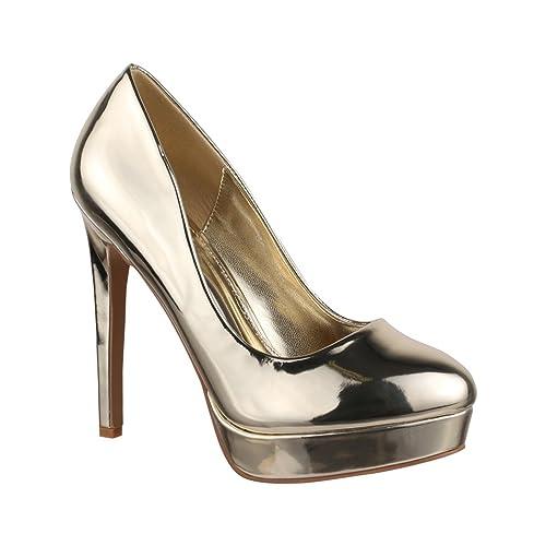 672d02a2f1b51c High Heels Shoes Gold  Amazon.de