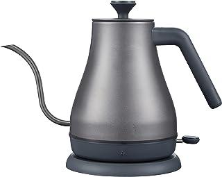 ステンレス ドリップポット 電気ケトル グレー 1.0L 細口 [おしゃれなカフェケトル] グースネック ステンレスケトル 湯沸かしポット 800ml 電気ケトル ドリップ ポット コーヒー i001