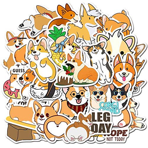 MBGM 50pcs Corgi Cute Cartoon Stickers Suitcase Skateboard Graffiti Waterproof Pvc Stickers Do Not Repeat