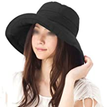 LOVEHATS Women Vacation Wide Brim Beach Hat Foldable Bucket Hat Large Brim Cap Sun Hat Anti-UV Cotton Summer Hat