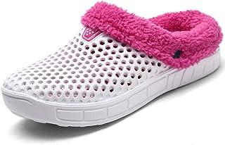 9d8b4687e BIGU Mules Clogs Slip On Garden Shoes Fur Lined Indoor Outdoor Walking Warm  Winter Slipper House