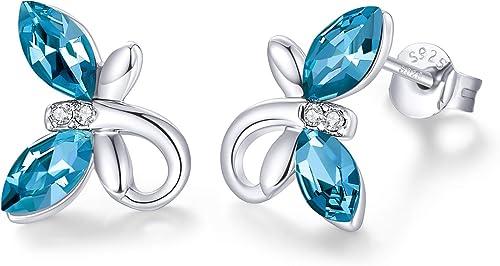 women Sapphire crystal mushroom earrings 925 Sterling Silver Glittering crystal Stud earring