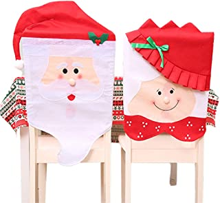 StyleZ 2PCS/Set Santa Hat Chair Covers Mr and Mrs Couple Santa Claus Xmas Chair Covers Home Kitchen Party Table Chair Back Slipcovers Decoration