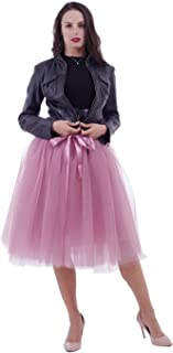 Women's Adult 7 Layered Pleated Tulle Tutu Skirt A Line Knee Length Petticoat Prom Party Skirt
