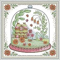 大人のための刻印されたクロスステッチキット初心者-ランプシェードのカウントされたクロスステッチキット小屋11CT 家の装飾のための事前に印刷されたパターンファブリック刺繡工芸品-40X50CM