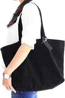 Borsa Tote, borsa a spalla, borsa in pelle scamosciata nera, personalizzata con il tuo nome. Anita Tote bag