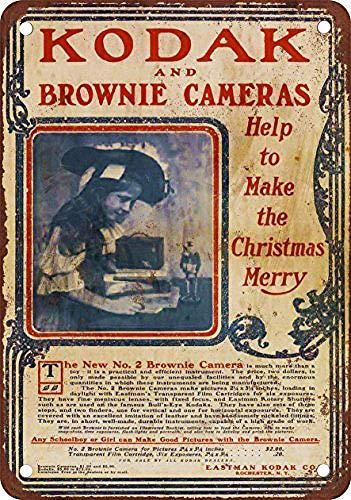 XIAOBAO Kodak Brownie Camera - Cartel de metal de estaño para decoración de pared, diseño retro, 20 x 30 cm