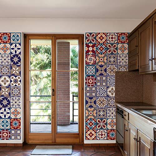 Walplus Extraíble Autoadhesivo Arte Mural Adhesivos Vinilo Decoración Hogar Bricolaje Living Cocina Dormitorio Decor Papel Pintado Saigon Rojo y Azul Mezcla Mosaico Pared Azulejos 48 Piezas 15cm X