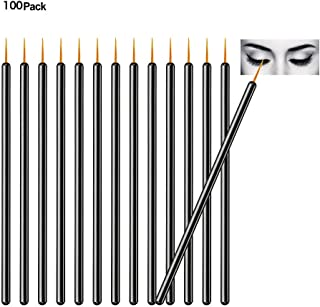 TygoMall 100pcs Disposable Eyeliner Brushes With Covers On the Hair Beauty Makeup Tools Wand Applicator (Si...