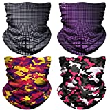NTBOKW Face Mask for Dust Sun Wind Seamless Bandana Headband Neck Gaiter Rave Face Mask for Festival Party Riding Motorcycle Riding Fishing Tube Mask for Men Women (4 Pack Multi Color 29)