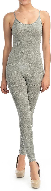7Wins Women Catsuit Cotton Lycra Tank Spaghetti Strapped Yoga Bodysuit Jumpsuit SPlus