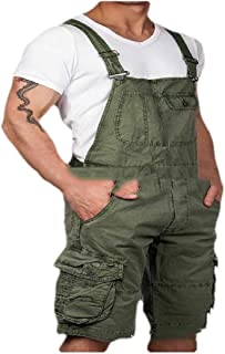 neveraway Men's Solid Colored Pocket Stylish Short Relaxed Summer Bib Overall