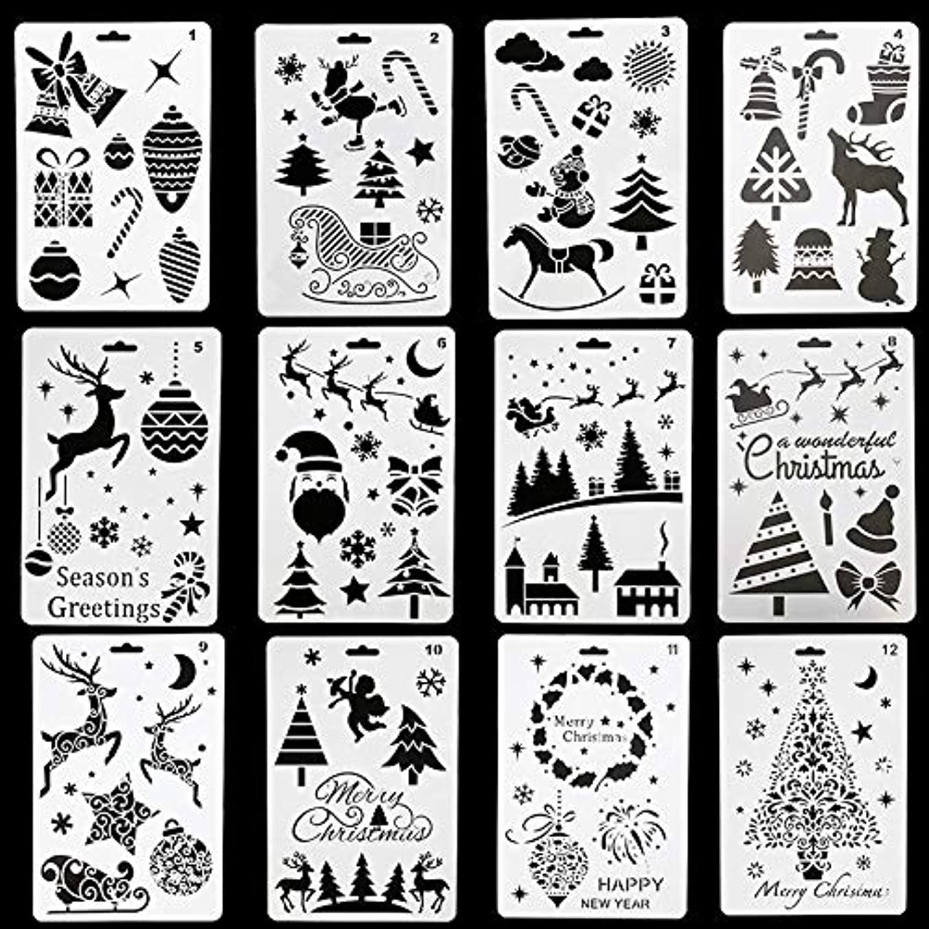 Ginooars Christmas& New Year Theme Plastic Stencils Templates for Painting Craft, Pack of 12, 10×7 inch,Great Gift Idea
