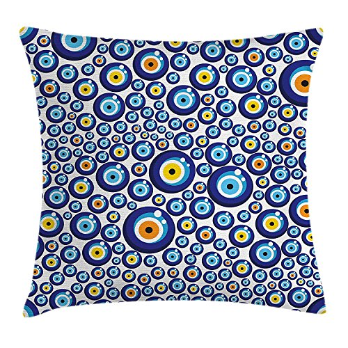 askizmdhfjwe Evil Eye Throw Pillow Cushion Cover, Traditional Turkish Charm Luck Sign Pattern Vivid Bead Figures Graphic, Decorative Square Accent Pillow Case, 18 X 18 Inches, Blue Orange Yellow