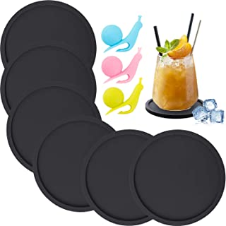 Silicone Coasters, Coasters for Drinks 6 Set Non-Slip Cup Coasters, Heat Resistant Cup Mate, Soft Coaster for Tabletope Pr...