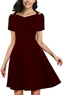 Women's Elegant Vintage Spaghetti Strap Sweetheart Neck Cocktail Party A-line Skater Dress 968