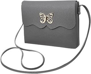 Everpert Women Girl Shoulder Handbag Butterfly Casual Pu Leather Messenger Bag/Black