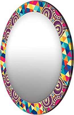 999Store Printed Colorful Triangles and Floral Round Mirror (MDF_17X17 Inch_Multi)